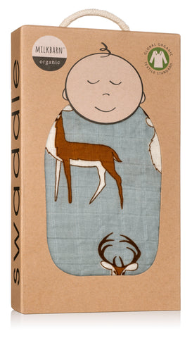 Image of Organic Cotton Muslin Swaddle Blanket - Blue Buck
