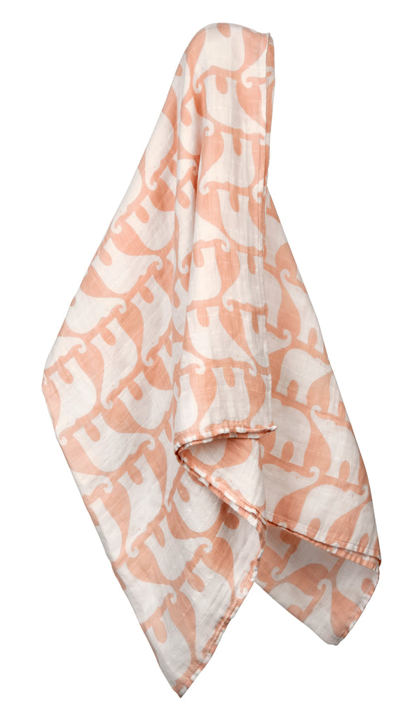 Organic Cotton Muslin Swaddle Blanket - Rose Elephant