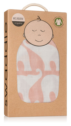 Image of Organic Cotton Muslin Swaddle Blanket - Rose Elephant
