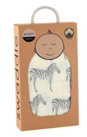 Organic Cotton Muslin Swaddle Blanket - Grey Zebra