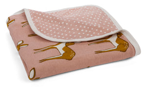 Organic Cotton Stroller Blanket - Rose Doe