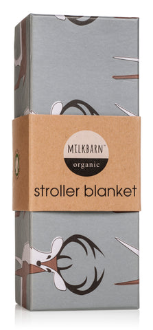 Organic Cotton Stroller Blanket - Blue Buck