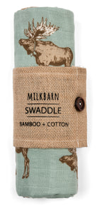 Giant Bamboo Muslin Swaddle Blanket - Bow Tie Moose