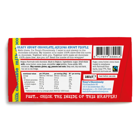 Tony's Chocolonely Milk Fairtrade Chocolate 180g
