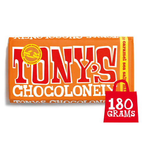 Image of Tony's Chocolonely Fairtrade Milk Caramel Sea Salt Chocolate 180g