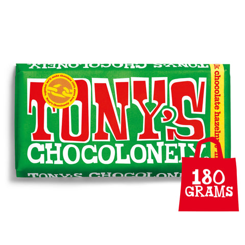 Image of Tony's Chocolonely Fairtrade Milk Hazelnut Chocolate 180g