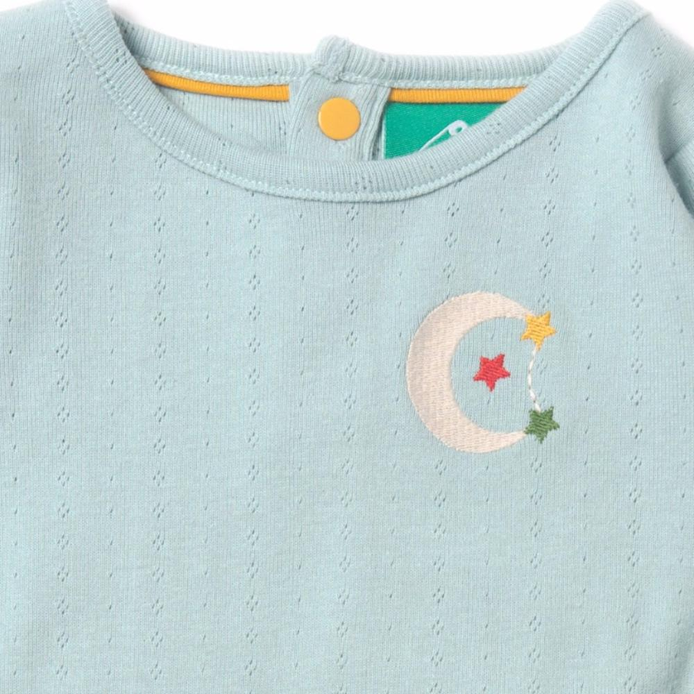 Organic cotton pointelle baby body with a Moon & Stars embroidery