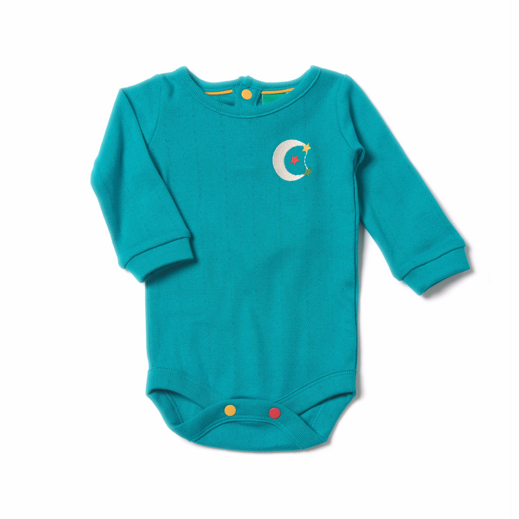LGR Peacock Blue Pointelle Baby Body - Tilly & Jasper