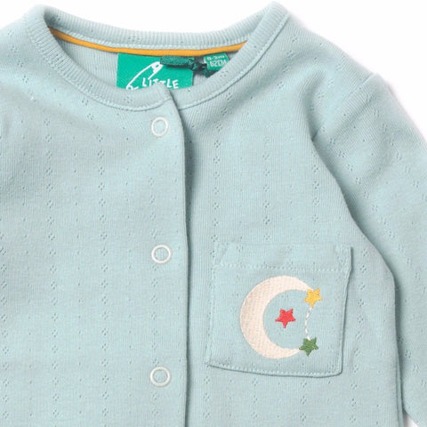 Organic Fairtrade Cotton - Aqua Sky Pointelle Babygrow