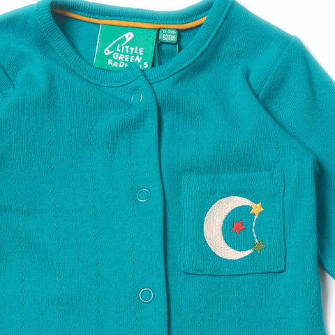 Organic Fairtrade Cotton - Peacock Blue Pointelle Babygrow