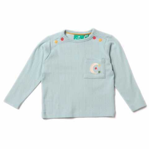Aqua Sky Pointelle Long Sleeve Tee - Organic Fairtrade Cotton