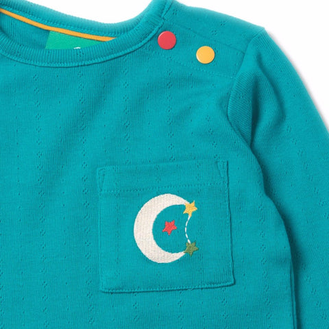 Peacock Blue Pointelle Long Sleeve Tee - Organic Fairtrade Cotton