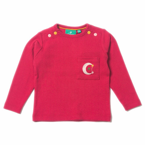 Image of LGR Raspberry Pointelle Long Sleeve Tee - Organic Fairtrade Cotton