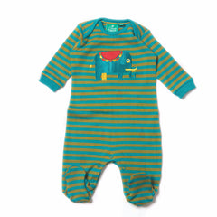 Organic Fairtrade Cotton - Jungle Elephant Appliqué Babygrow