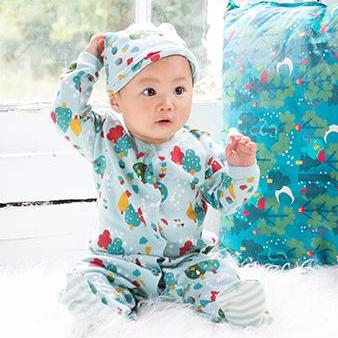 Organic Fairtrade Cotton - Falling Leaves Babygrow