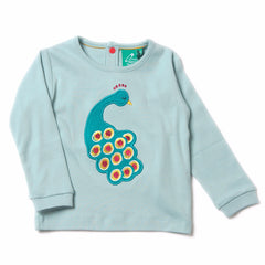 Midnight Peacock Applique Tee - Organic Fairtrade Cotton