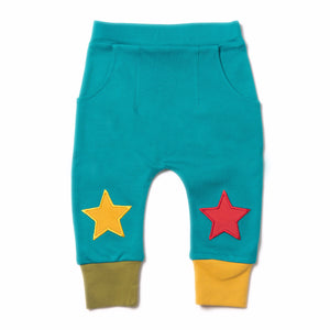 Peacock Blue Star Jogger - Organic Fairtrade Cotton