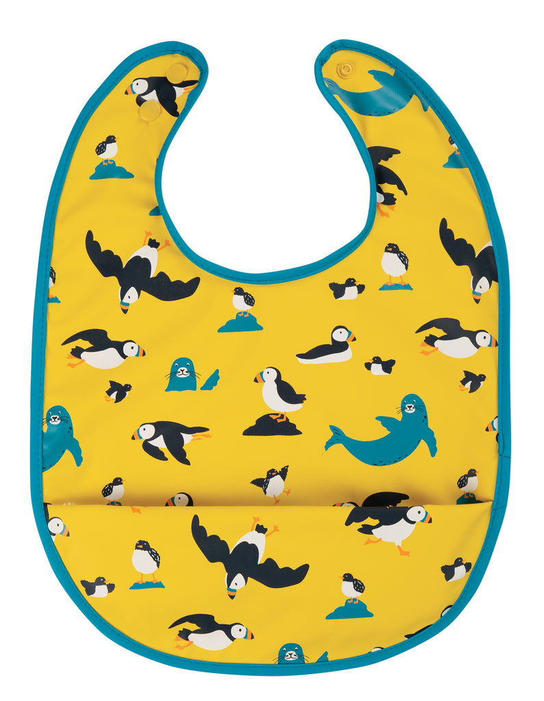 Frugi Spick and Span Bib - Sunflower Puffling Away