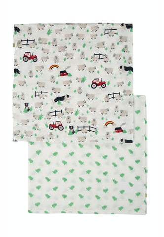 Image of Frugi Lovely 2 Pack Muslin - Tractor Multipack