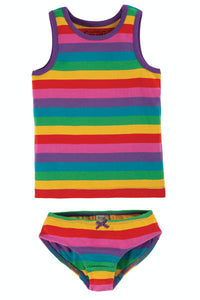 Frugi Vest and Brief 2 Pack - Foxglove Rainbow Stripe