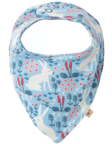 Image of Frugi Dribble Bib - Sky Blue Arctic Hares - Organic Cotton