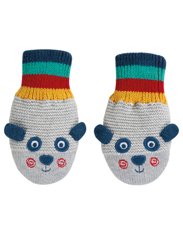 Image of Frugi Merry Knitted Mittens - Panda