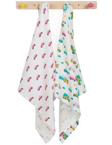 Frugi Lovely 2 Pack Muslin - Vehicle Multipack - Tilly & Jasper