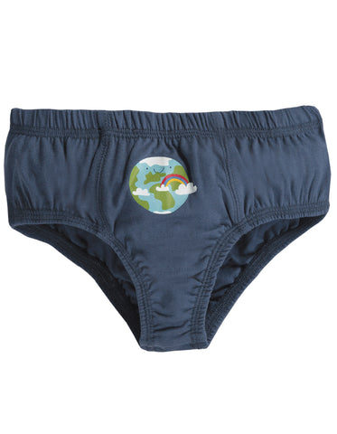 Image of Frugi Barney Printed Brief - Space Blue/Earth - Tilly & Jasper