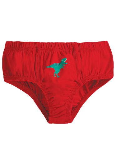 Frugi Barney Printed Brief - Tango Red/Dino - Tilly & Jasper