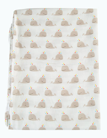 Frugi Scrumptious Muslin Swaddle - Rainbow Whales