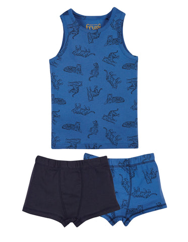 Frugi Vest and Boxer 3 Piece Set - Cobalt Tigers