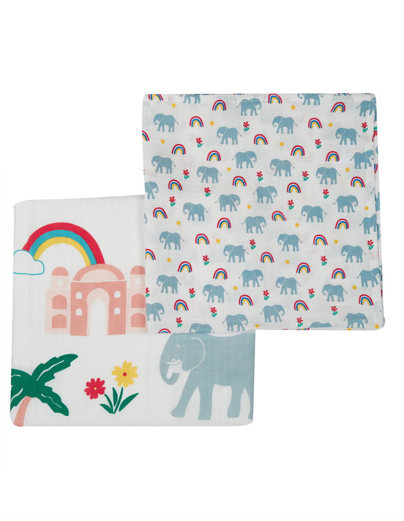 Frugi Lovely 2 Pack Muslin -  Elephant Multipack