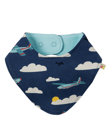 Image of Frugi Reversible Dribble Bib - Marine Blue Fly Away