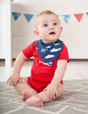 Frugi Reversible Dribble Bib - Marine Blue Fly Away - Tilly & Jasper