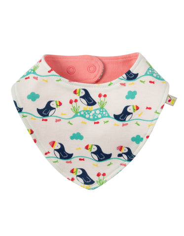 Image of Frugi Reversible Dribble Bib - Soft White Puffin Parade