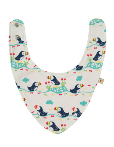 Image of Frugi Reversible Dribble Bib - Soft White Puffin Parade - Tilly & Jasper