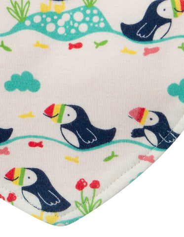 Frugi Reversible Dribble Bib - Soft White Puffin Parade
