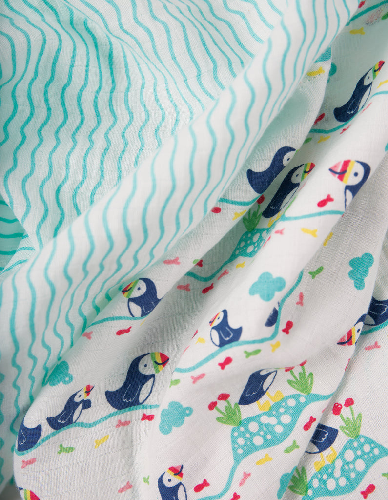 Frugi Lovely 2 Pack Muslin - Puffin Multipack