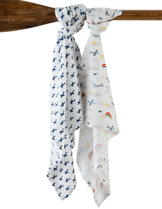 Frugi Lovely 2 Pack Muslin - Plane Multipack - Tilly & Jasper