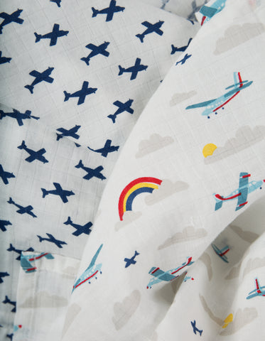 Image of Frugi Lovely 2 Pack Muslin - Plane Multipack - Tilly & Jasper