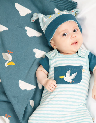 Image of Frugi Welcome Home Blanket - Rockpool Pelicans - Tilly & Jasper