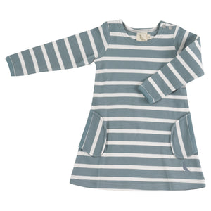 Pigeon Organics Breton Dress - Smoke Blue/white