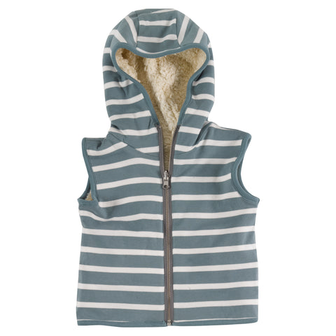Pigeon Organics - Fleecy Gilet (Reversible) - Smoke Blue/White