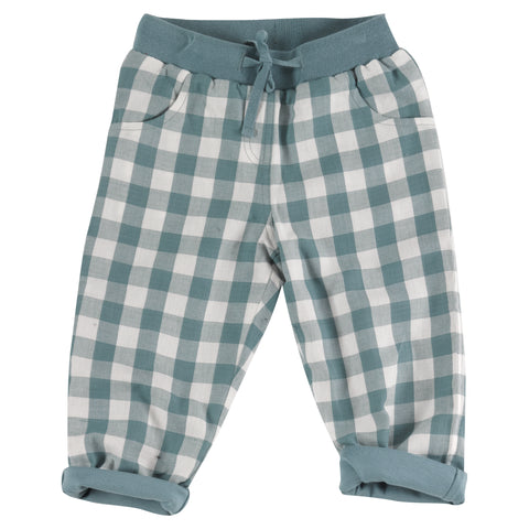 Pigeon Organics Gingham Trousers - Blue