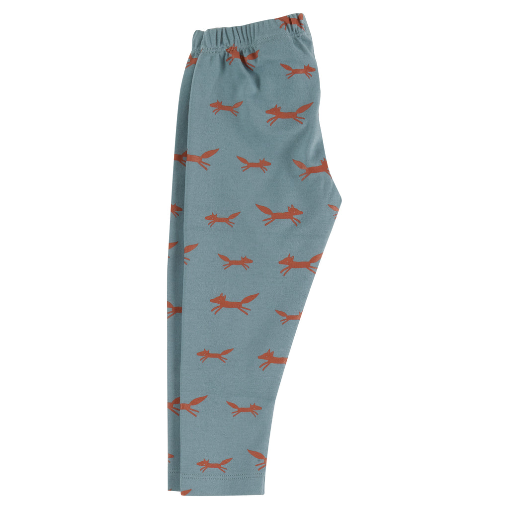 Pigeon Organics Leggings - Foxes on Blue