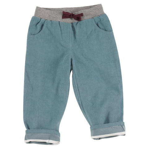 Pigeon Organics Lined Cord Trousers - Smoke Blue