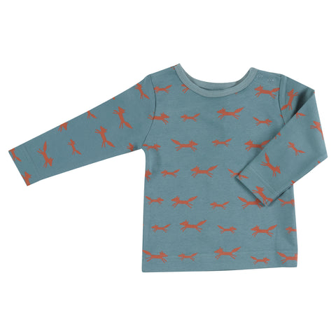 Pigeon Organics Long Sleeve T-shirt - Foxes on Blue