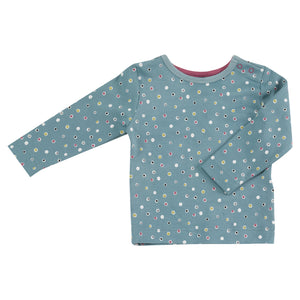 Pigeon Organics Long Sleeve T-shirt - Spots on Blue