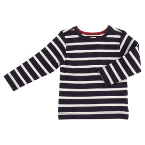 Pigeon Organics Long Sleeve Striped T-shirt - Deep Indigo/White