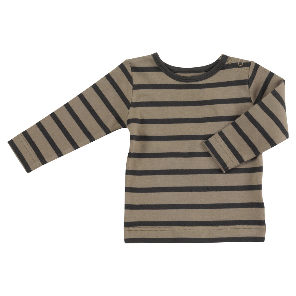 Pigeon Organics - Long Sleeve Striped T-shirt - Olive/Black Blue